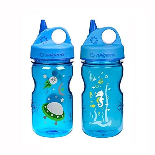 Nalgene Grip N-gulp - Nalgene Grip-N-Gulp Kids / Children's Tritan Water Bottles 12oz - 2 Bottle Combo Pack - 3 Inches in Diameter by 7.75 Inches Tall (12oz, Set of 2, Blue Space Ship and Blue Seahorse)