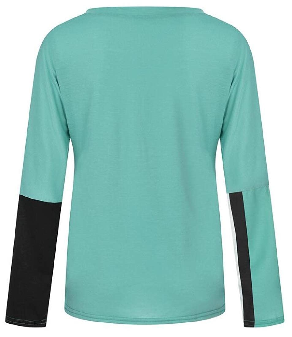 Zantt Womens Contrast Crewneck Long Sleeve Loose Fit Plus Size Blouse Top T-Shirt