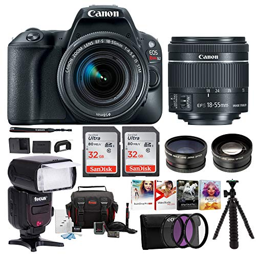 Canon EOS Rebel SL2 Digital Camera with Canon EF-S 18-55mm STM Lens : 24 Megapixel 1080p HD Video DSLR Bundle with 64GB (2X 32GB SD Cards) Mini Tripod Filter Kit Flash Bag & Charger Professional Kit Digital Blue Canon Eos