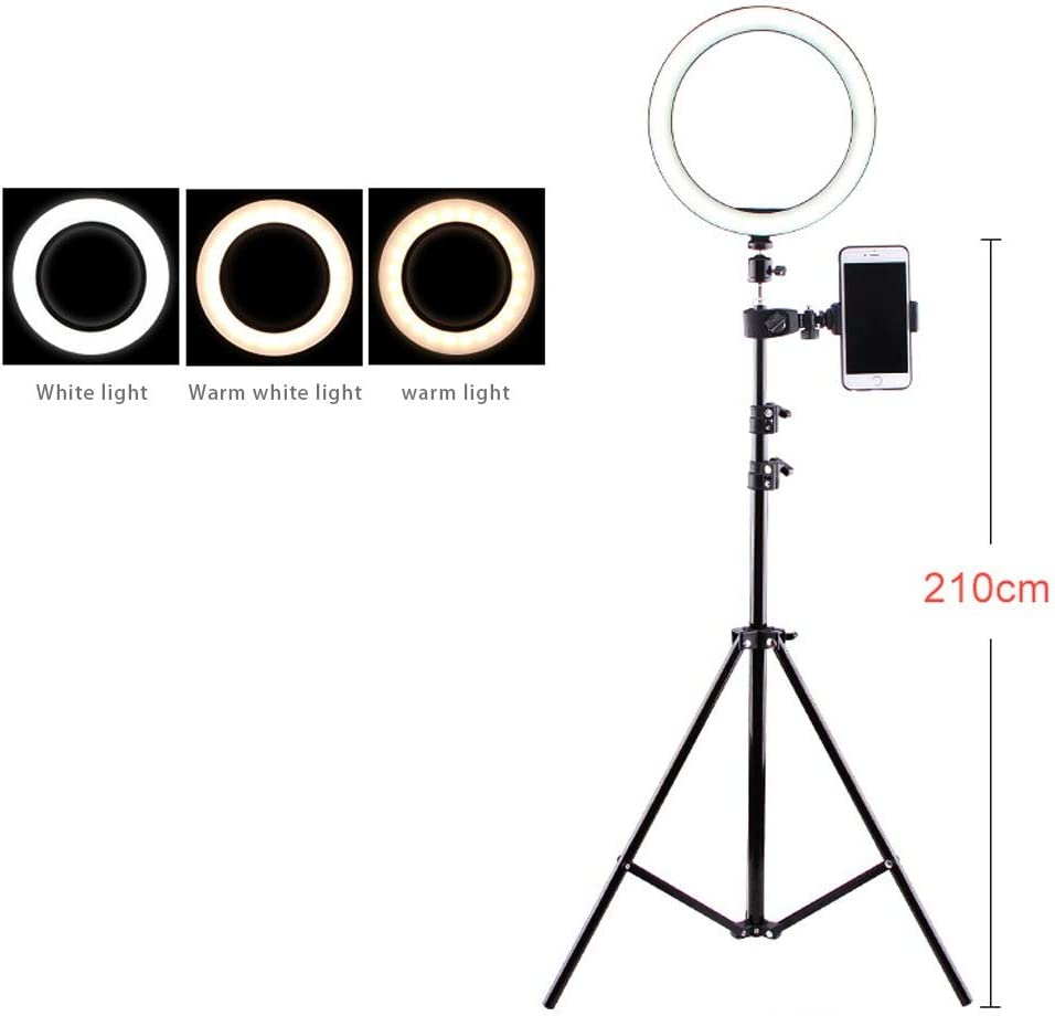 Color : 26cm Light 160cm high JIAX Selfie Ring Light with Tripod Stand /& Cell Phone Holder for Live Stream//Makeup Led Camera Ringlight for Video//Photography Compatible