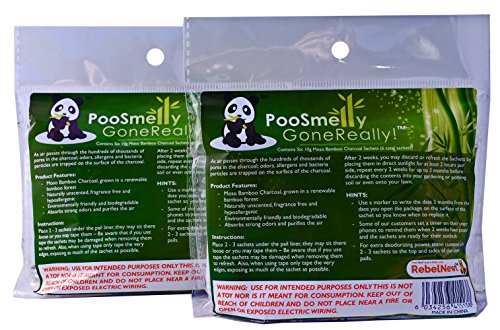 PooSmelly GoneReally! Moso Bamboo Charcoal Diaper Pail Deodorizers - 12 Sachets