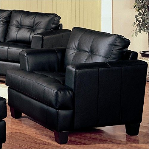 Black Leather Bonded Samuel (Coaster Samuel Contemporary Leather Chair, Black)