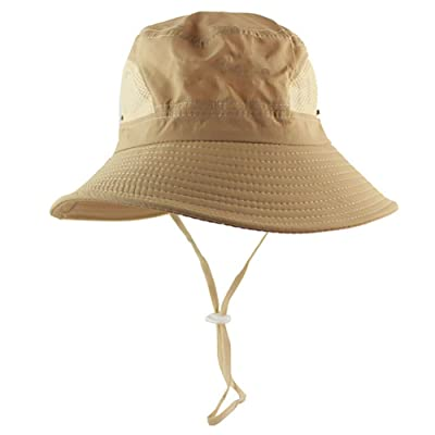 AOBRITON Summer Bucket Sun Hat Men Women Boonie Hat Outdoor UV Protection Long Wide Brim Army Hiking Fishing Mesh Breathable Waterproof