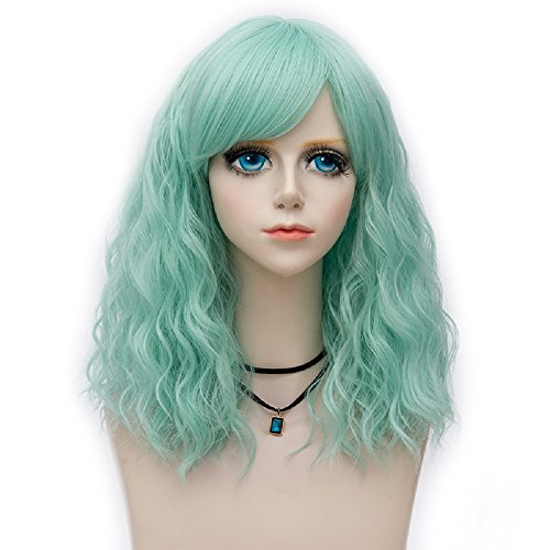 Probeauty Raddict Collection 45cm Lolita Shoulder Length Curly Pastel Ombre Hair Synthetic Cosplay Wig+Cap (Mint F3)