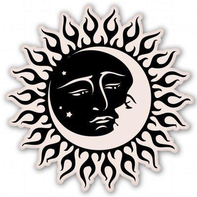 - Sun and Moon Celestial Vinyl Sticker - Car Phone Helmet Bumper Sticker Decal
