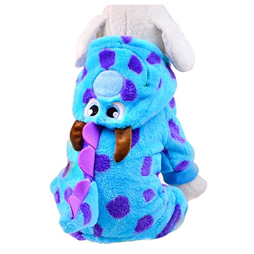 [Fashion Cute Puzzle Bobble Soft Warm Thick Coral Fleece Pet Dog Hoodie Coat Jacket Cat Dress Up Faux Fur Puppy Hoodies Clothes Winter Fall Sweater Jumpsuit Outwear Christmas Halloween Costume] (Halloween Costume Wearing Overalls)