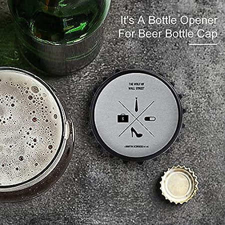 Wolf of Wall Street Icons - Abrebotellas de silueta de película, imán trasero para nevera, forma creativa de tapa de botella, fácil de abrir el esfuerzo de botella.