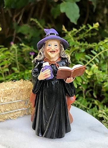 Magic Miniature Dollhouse Fairy Garden Mini Halloween Witch Figurine with Spell Book Mini Garden Scene
