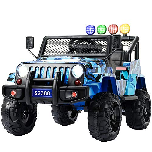 (Uenjoy Kids Ride on Cars with Remote Control New Camouflage Color W/ Spring Suspension, Music& Story Playing, Colorful Lights, Sunshine Model, Camo Blue)