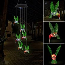 XIHAB Solar Wind Chime Moon Light Outdoor Waterproof Colorful LED Color-Changing Home/Party/Yard/Décor Mobile Wind Chime,A