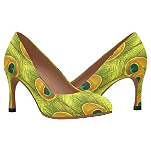 InterestPrint Women's Classic Fashion High Heel Dress Pump Shoes Watercolor Pattern With Yellow Peacock Feather 8 B(M) US