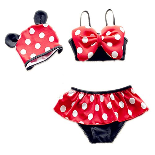 3pcs Toddler Baby Girls Kid Swimwear Bikini Skirts Tankini Polka Dots Swimsuits 1-2T Red