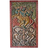 Antique Hand Carved Krishna Dance on Snake Kaliya Wood Carving Relief Panel ,Teak Wood Wall Hanging, Wall sculpture