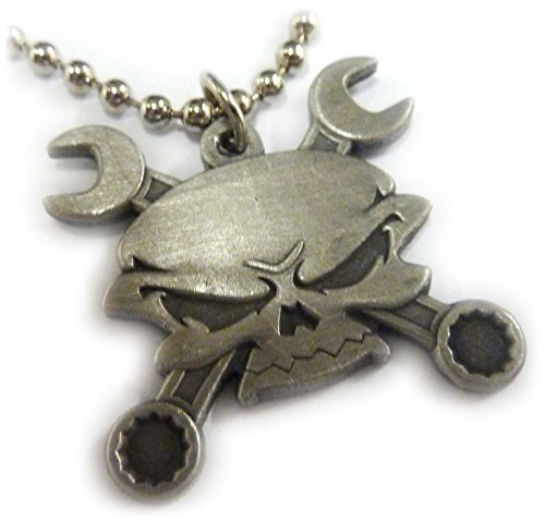 (Skull Cross Wrenches Antique Nickel Car Motorcycle Mechanic Pendant Necklace)