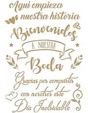 TODO STENCIL Deco Fiesta 038 Cartel Boda, Medidas: Stencil 20 x 30 cm -