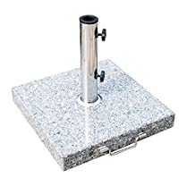 """Outsunny 16.5"""" Marble Umbrella Stand Market Square Heavy Holder Base w/ Wheels"""