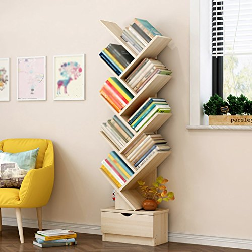 Bookshelf Floorstanding Students Shelf Simple Modern Bookcase Economical Living Room Tree Small Storage Rack (Color : Maple Sakuragi, Size : 148cm)