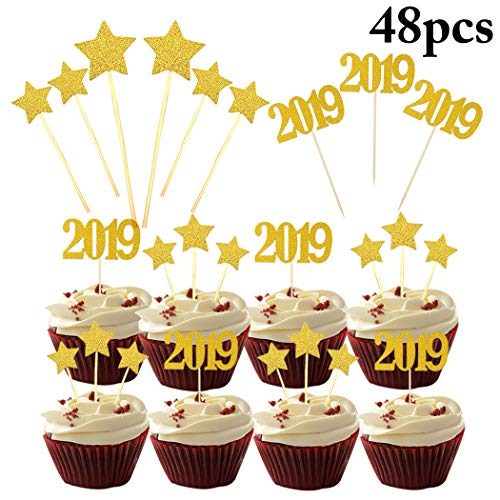 Coxeer 2019 Cake Toppers, 48PCS New Years Eve Decorative Party Cupcake Toppers 2019 Number Glitter Food Picks Star Cupcake Picks for New Year Christmas Birthday Graduation Party Decor