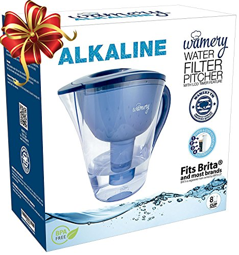 Alkaline Water Pitcher  2 Liters Or 8 Cups  Portable Filter System For Tap Water  Ionize  Filter  Clear  Increase Ph And Improve Kitchen Faucet Water Taste  Avoid Bottles And Machines  Free Cartridge