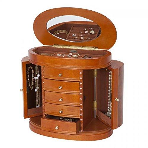 Wooden Jewelry Box in Burlwood Walnut Finish. Dresser Top Jewel Case w/Drawers, Ring Rolls, Mirror