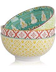Porcelain Large Serving Bowls - Salad Soup Noodle Ramen Bowls - Big Cereal Pasta Bowl Set - 3 Pack Large Capacity Ceramic Bowl Sets -Microwave & Dishwasher Safe - 8inch(57oz/1.8 Quart)