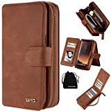 Samsung Galaxy S8 Plus Case, Premium Leather Wallet Type Carrying Case Purse Clutch Cover Magnetic Detachable Folio Flip Holster with Hand Strap&Card Slots for Samsung Galaxy S8 Plus -(Brown)