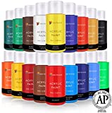 nail acrylic paint set - Acrylic Paint Set By Color Technik, Artist Quality, LARGE SET - 18x59ml (2-Ounce) Bottles, Best Colors For Painting Canvas, Wood, Clay, Fabric, Nail Art & Ceramic, Rich Pigments, Heavy Body, GIFT BOX