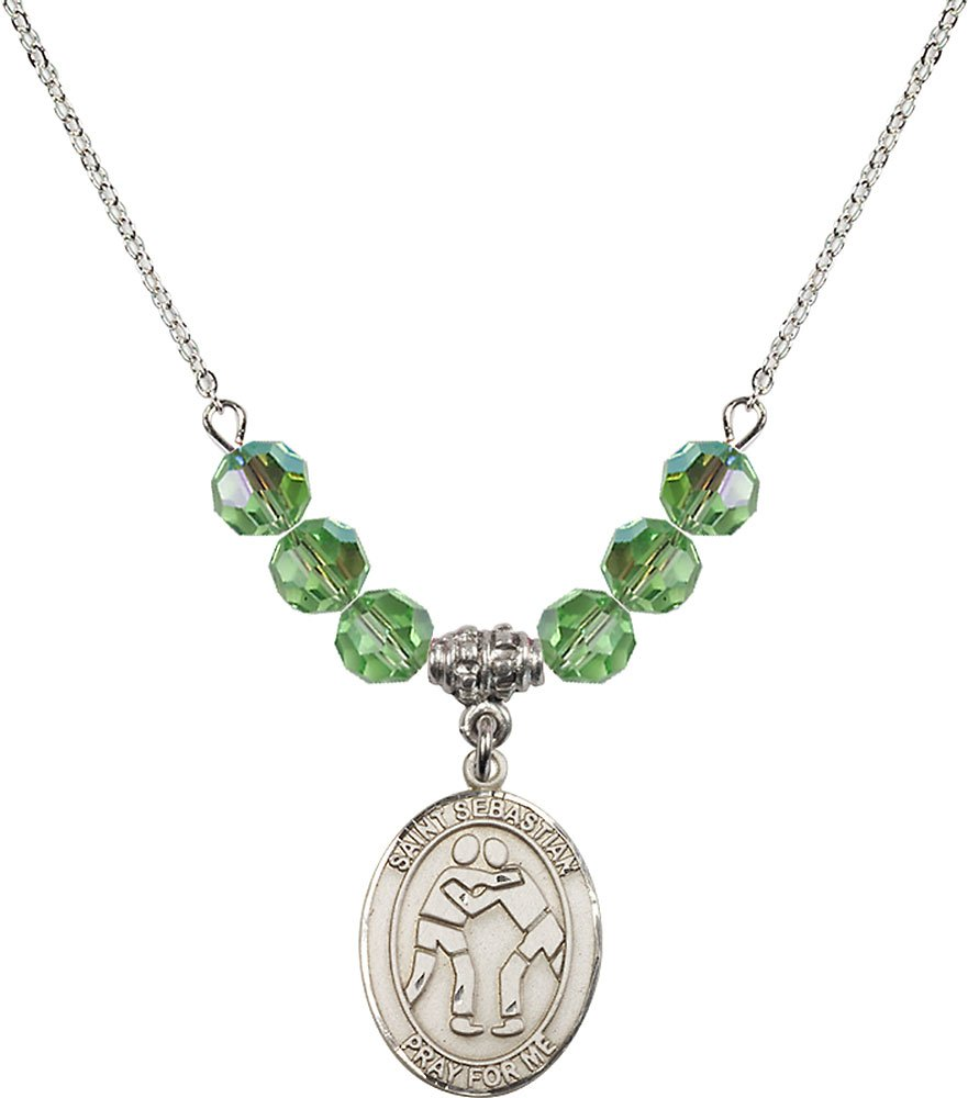 Rhodium Plated Necklace with 6mm Peridot Birthstone Beads & Saint Sebastian/Wrestling Charm. by F A Dumont