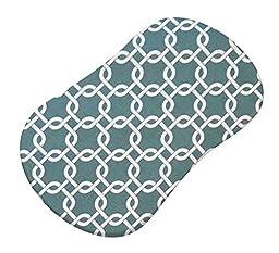 SheetWorld Fitted Bassinet Sheet (Fits Halo Bassinet Swivel Sleeper) - Seafoam Blue Links - Made In USA