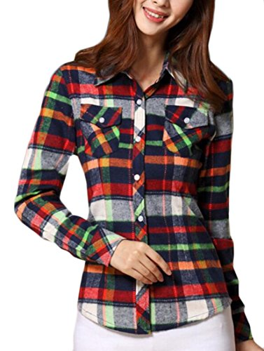 M&S&W Women's Slim Plaid Print Brushed Button Down Shirts 1