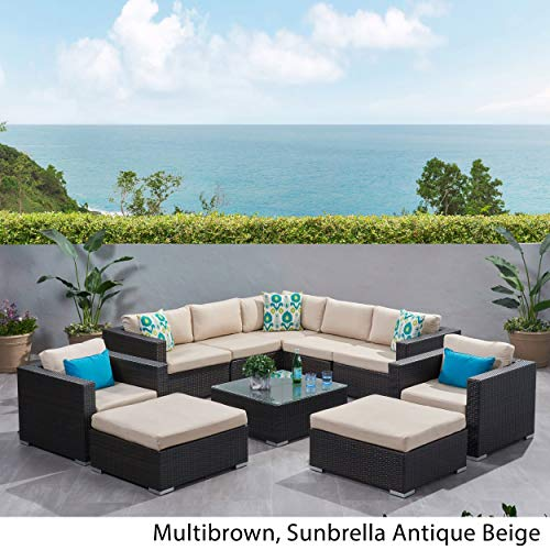 Christopher Knight Home Santa Rosa Outdoor 10-Piece Wicker Sectional Sofa Set with Cushions by Multibrown/Sunbrella Antique Beige 7 ()