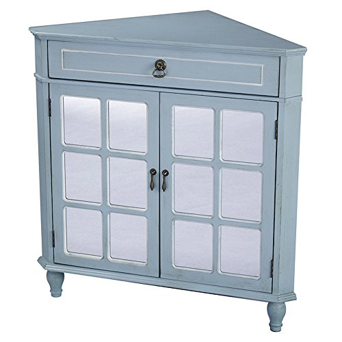 - Heather Ann Creations Modern 2 Door Corner Cabinet with Drawer with 6 Pane Mirror Insert Blue/White Trim