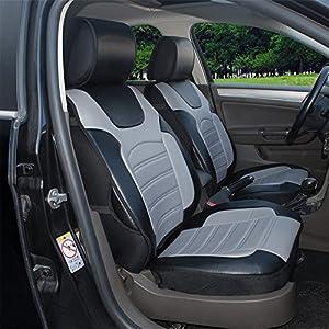 Amazon Com 180204s Black Grey 2 Front Car Seat Cover