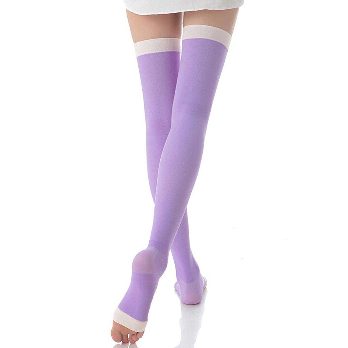 Muslo-alta compresión LEORX speedback calcetines sandalias calcetines de compresión medias bestdeal (morado)