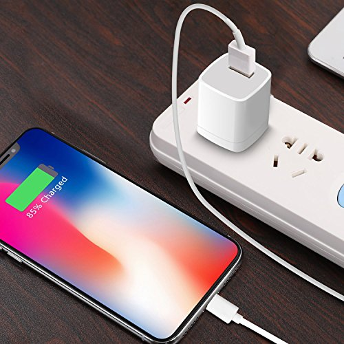 Phone Charger, Travel Wall Power Adapter Charger Cable, [2-Pack] USB Data Charge Sync Cable Compatible with iPhone X/8/7/6S/6/Plus/SE/5S/5C/XS/XR/XS Max, iPod, iPad by DelTucci (Image #6)