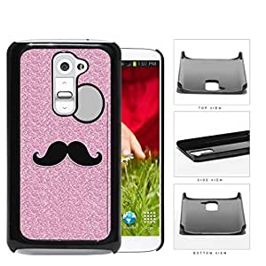 Pink Glitter Mustache Trend Hard Plastic Snap On Cell Phone Case LG G2
