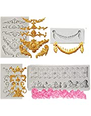 4 Pieces Baroque Silicone Fondant Molds HADEEONG Baroque Fondant Mold 3D Sculpted Scroll Curlicues Filigree Mold Cake Border Molds for DIY Baking Birthday Cake Candy Cupcake Topper Decoration