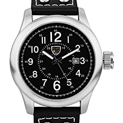 Picard & Cie Stellihorn Mens Watch - Black Leather Strap, Silver Case, Black Dial