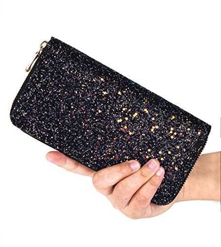Card Black Wallet Women's Shiny Long Holder Badiya Purse Glitter Bling Design Clutch pZFwnf