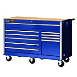 Williams 50765BLW 10 Drawer Super Value Roll Cabinet with Wood Top, 56'', Blue