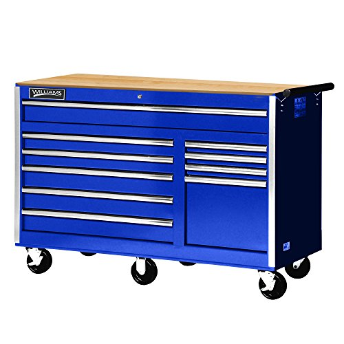 "Williams 50765BLW 10 Drawer Super Value Roll Cabinet with Wood Top, 56"", Blue"