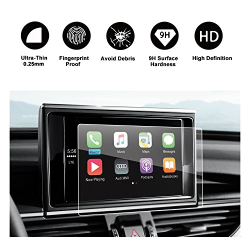 RUIYA Audi 2013-2018 A6 A7 A8 S6 S7 S8 C7 4G Car Navigation Protective Film, Clear Tempered Glass HD and Protect your Eyes
