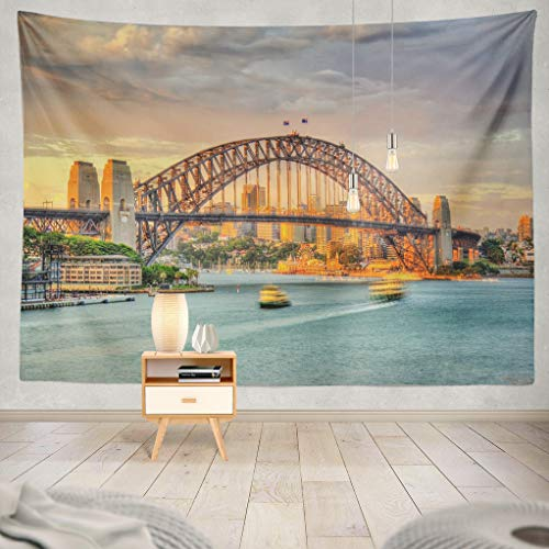 ASOCO Tapestry Wall Hanging Sydney Bridge Sunset Australia New South Wales Wall Tapestry for Bedroom Living Room Tablecloth Dorm 80