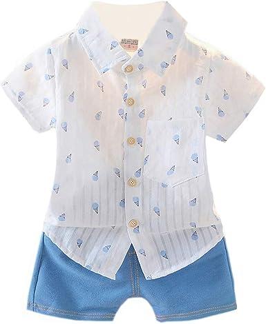 AIKSSOO 2Pcs Toddler Girls Clothes Set Kids Summer Sleeveless Ruffle Blouse+Shorts