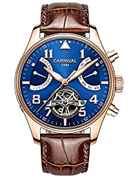 Gosasa Men Blue Dial Rose Gold Steel Case Sapphire Glass Day Date Automatic Watch With Brown Leather Strap