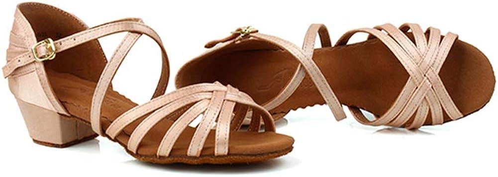 HIPPOSEUS Girls Latin Dance Shoe Satin Practice Party Ballroom Sandels 1.37inch Heel Little Kid//Big Kid ,Model 608
