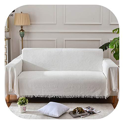 Fairy music Europe Jacquard Sofa Cover Solid White Slipcover for 1/2/3-seat Sofa Furniture Protector Funda Sofa Towel Nice Tassels,130x180cm - Cotton Headboard Slipcover