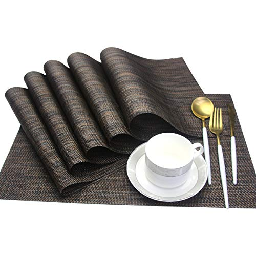 Bright Dream Place Mats Wipe Clean for Dinner Mats Anti-Skid Crossweave Woven Vinyl Table Mats 12x18 inches Set of 6(Brown)