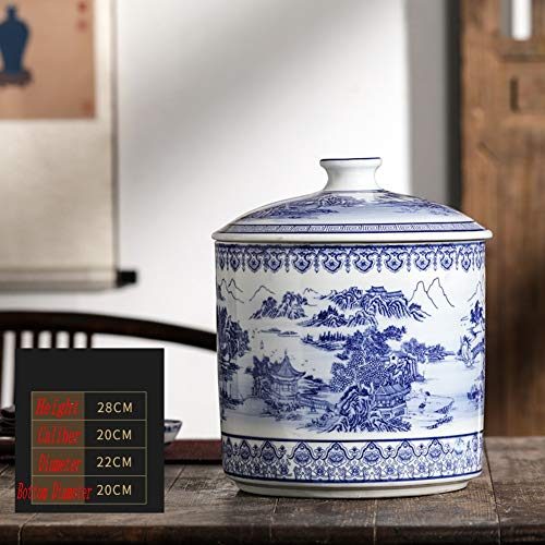 Blue and White Chinese Porcelain Vase Traditional Antique Temple Jar Vase with Base China Ming Style Ceramic Vase Artwork Hand Made Decoration-d H28xd20cm