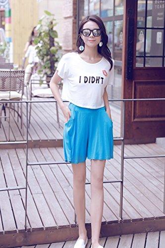 Women's Easy Shorts Elastic Waist Culottes Comfortable Relax Wear (Grey) Culottes Elastic Waist Shorts Flare Shorts Knee Length Loose Fit Shorts Mini Skirt Sheer Spats by PT&Key (Image #4)